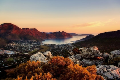 Beautiful view of lake and mountains at dusk in Cape Town