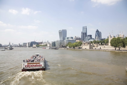 Skyline view of London from River Thames