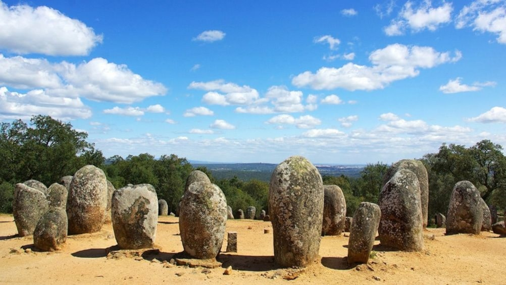 Show item 1 of 10. Almendres Cromlech circle of stones in Evora