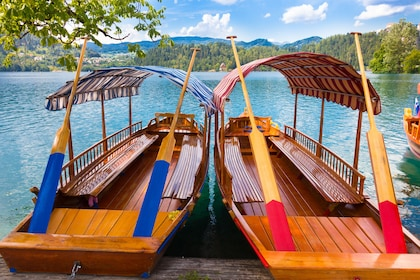 Traditional wooden boats on lake Bled, Slovenia