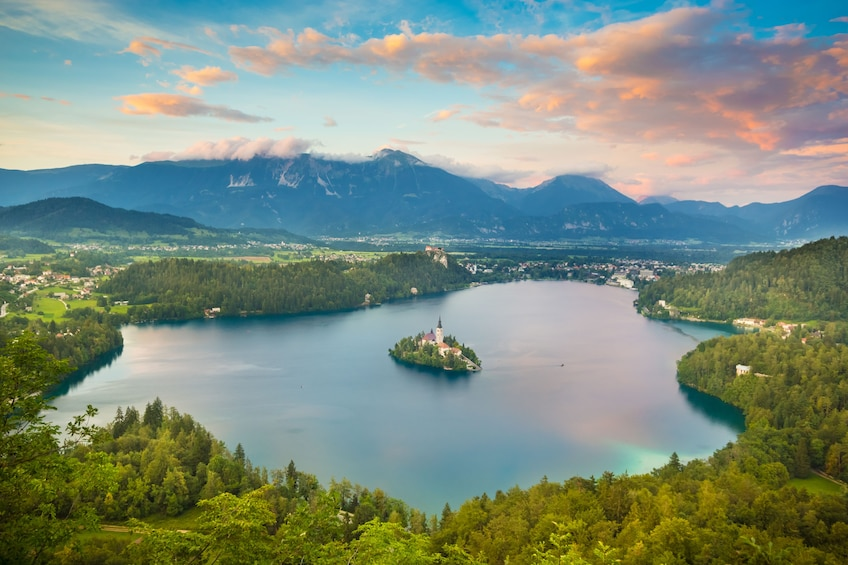 Show item 1 of 6. Aerial view of Lake Bled in Slovenia