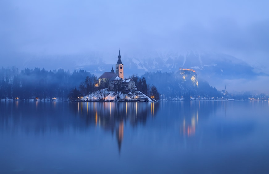 Show item 2 of 6. Town on the shores of Lake Bled in Slovenia