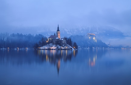 Town on the shores of Lake Bled in Slovenia