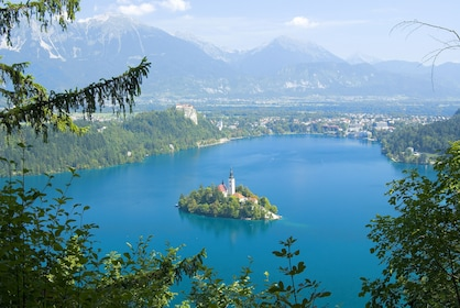 Aerial view of island in the middle of Lake Bled