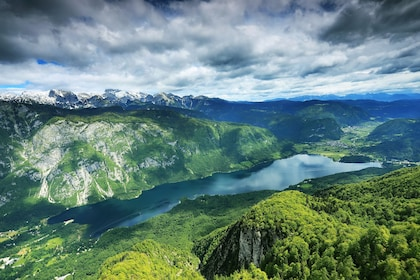 Aerial view of Lake Bled in Slovenia