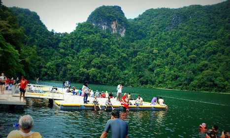Tourists relaxing on a dock in Langkawai