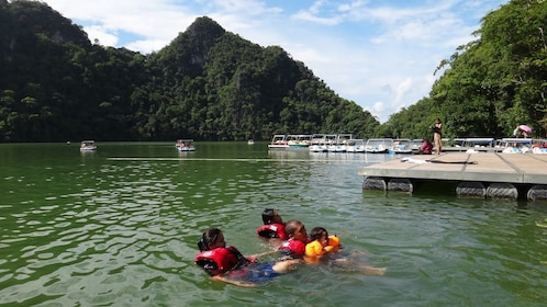 Family swimming in Langkawi