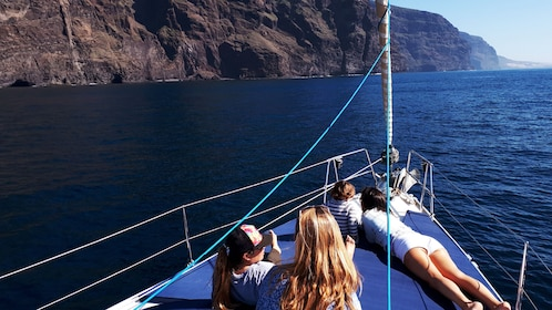Small group relaxing on a sailboat cruise around Los Gigantes