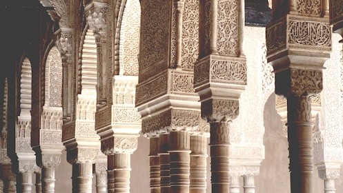 Carved pillars at Alhambra Palace