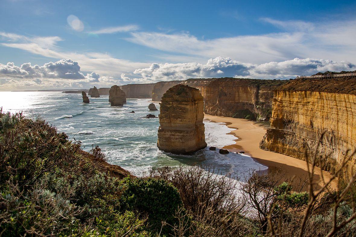 12 Apostles rock formations off the coast of Australia