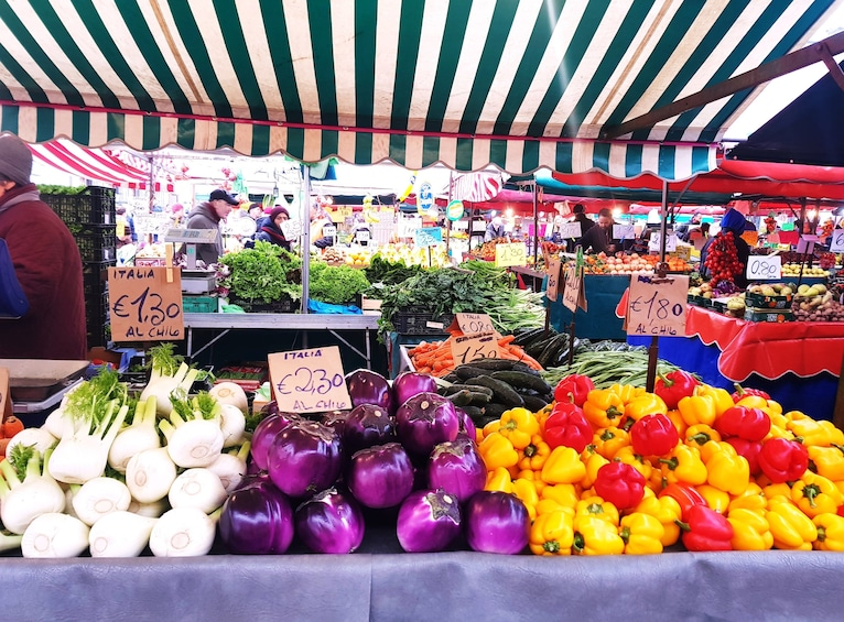 Show item 3 of 5. Colorful produce at market in Turin, Italy