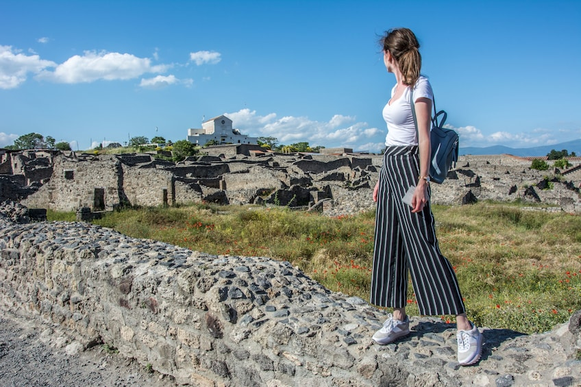 Show item 10 of 10. Woman standing on short rock wall looks back at Pompeiian ruins