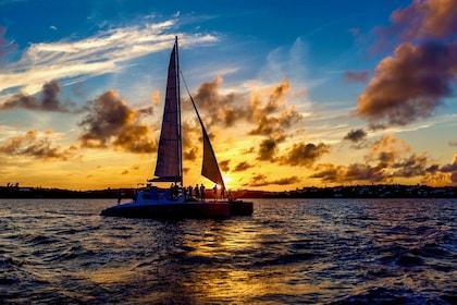 Sunset catamaran sail in Bermuda
