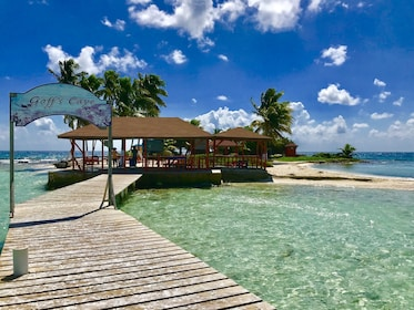 dock leading to entrance of Goff's Caye in Belize