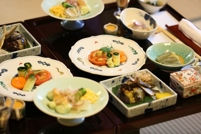 Show item 1 of 4. Closeup of small Japanese dishes in Osaka, Japan