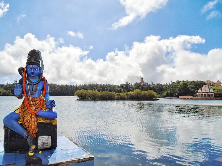 Show item 7 of 7. Shiva statue in Ganga Talao Lake, in Grand Bassin, Mauritius
