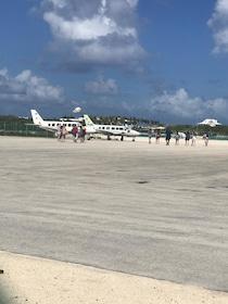 Plane on tarmac on Pig Island