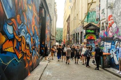 Tour group admiring the graffiti art in Melbourne