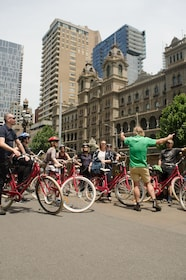 Bike group and guide on the streets of Melbourne