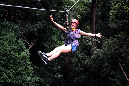 Woman ziplining on Langkawi Island