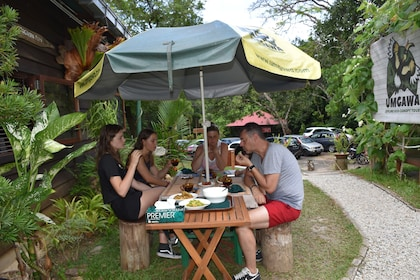 Tour group eating lunch at a picnic table on Langkawi Island