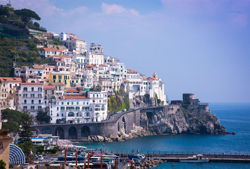 Show item 4 of 10. Buildings on the cliffs of the Amalfi Coast