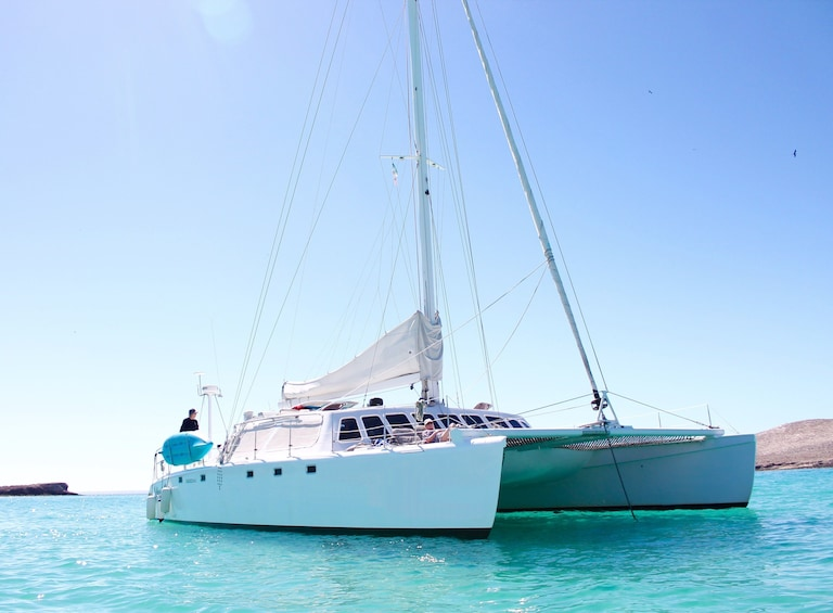 Show item 2 of 6. Sunny day view of a private sailing catamaran in Cabo San Lucas