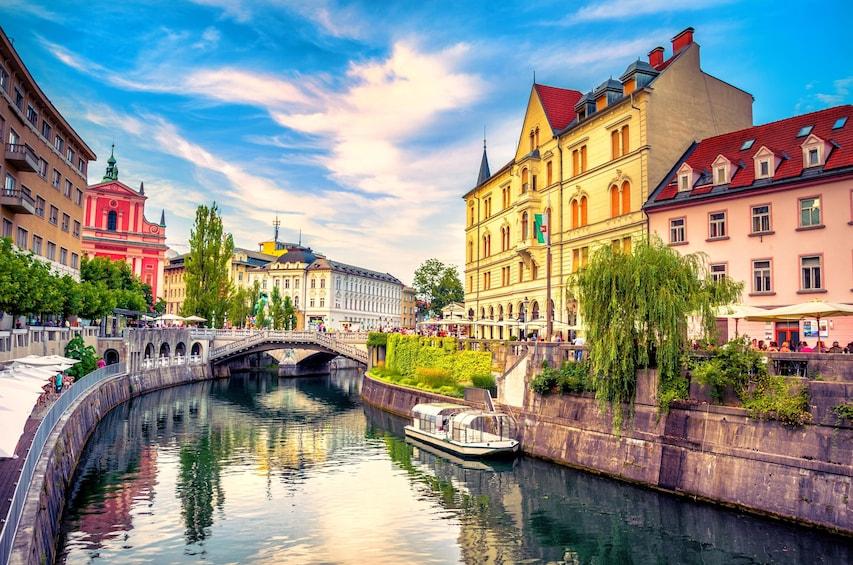 Show item 1 of 4. Ljubljanica River Canal in Ljubljana Old Town