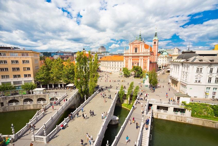 Show item 4 of 4. Ljubljana City Center, River Ljubljanica, Triple Bridge, and Preseren Square