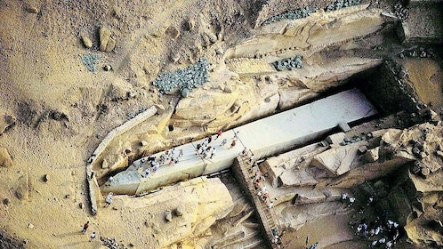 Aerial view of unfinished obelisk in the ground in Aswan, Egypt