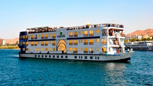 Large white cruise ship in the Nile in Egypt
