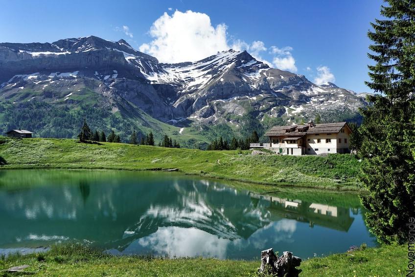 Les Diablerets village on Lac Retaud in Switzerland