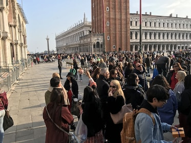 Crowds in front of the Piazza San Marco in Italy