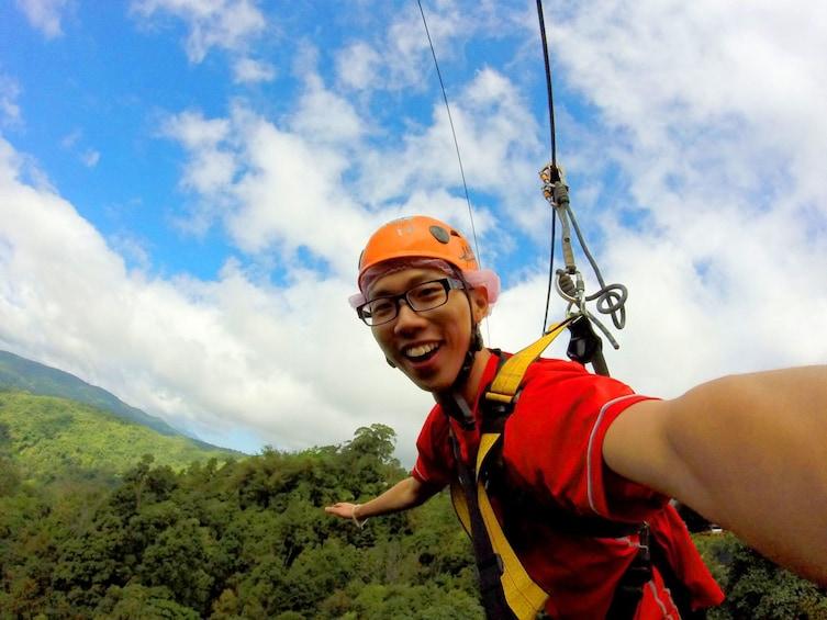 Person taking a selfie in Skyline Zipline Experience Chiang Mai