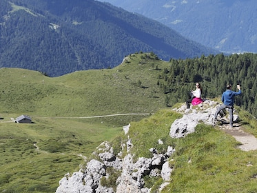 Couple enjoys scenic views of the Dolomites mountains