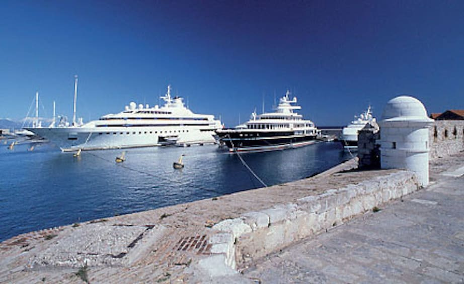 Large yachts moored in Port Antibes