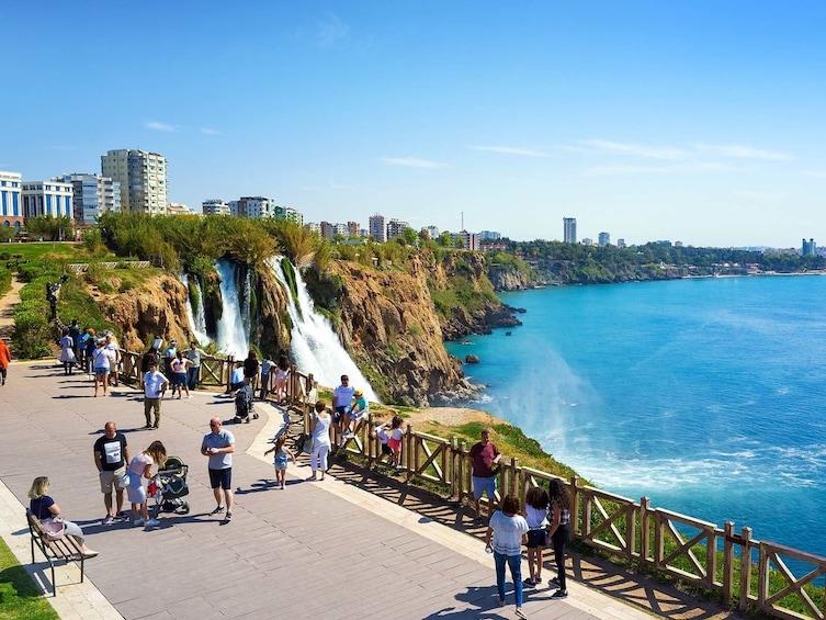 Show item 1 of 1. Coastline with waterfalls and view of Mediterranean Sea in Antalya, Turkey
