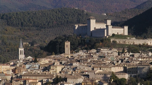 Buildings and hills of Spoleto, Italy