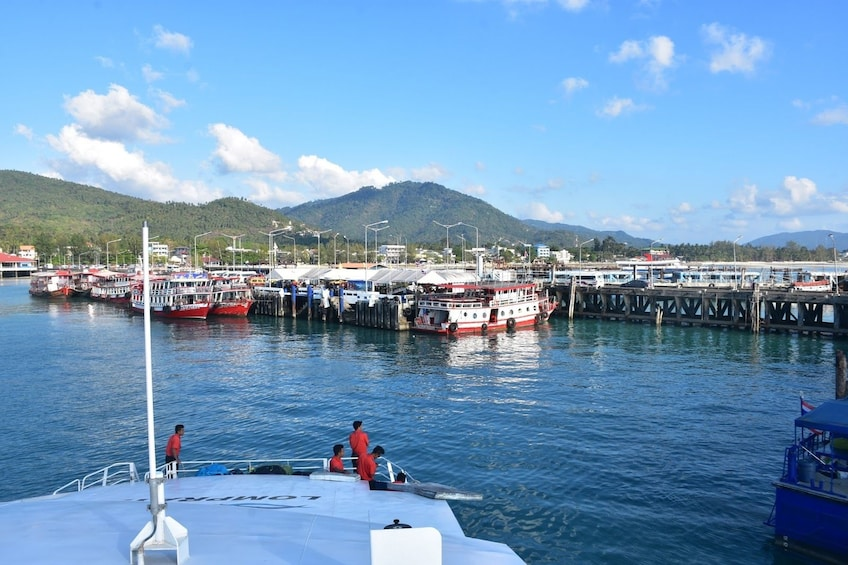 Show item 5 of 7. View from boat of Nathon Pier in Thailand
