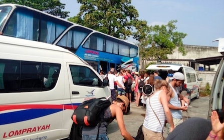Tourists arrive at Lomprayah office in Phuket, Thailand