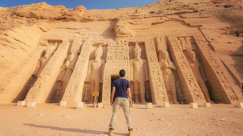 Man stares at Abu Simbel Temples