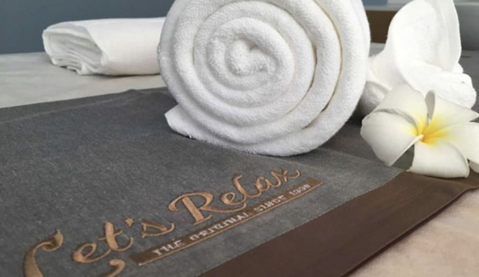 Show item 4 of 10. Rolled towel at the Let's Relax Spa in Bangkok