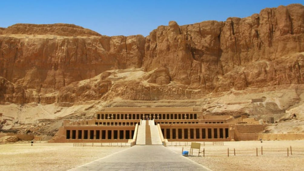 Show item 5 of 7. Panoramic view of Mortuary Temple of Hatshepsut with cliffs in the background