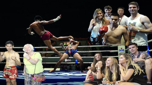 Collage of many Thai boxing scenes