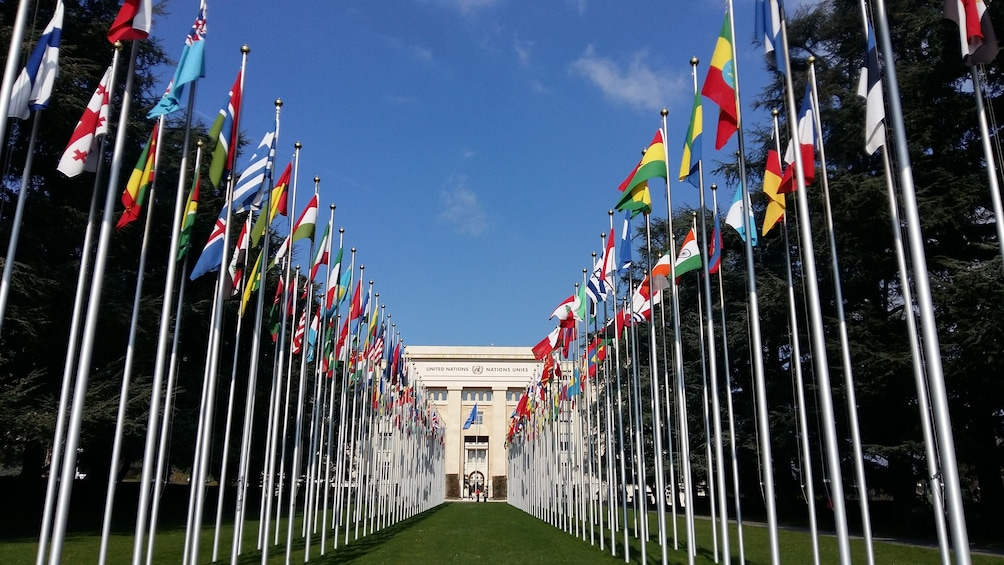 The Palace of Nations on a sunny day