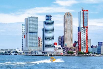 Rotterdam skyline over the water