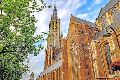 Large church with steeple in Delft in the Netherlands