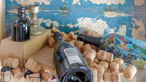 Wine bottles and corks at Tenuta Baron