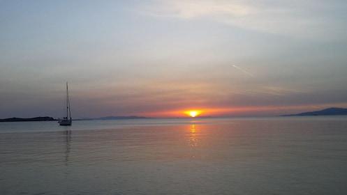 End of sunset in Mykonos, Greece