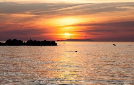 Pink sunset in Mykonos, Greece
